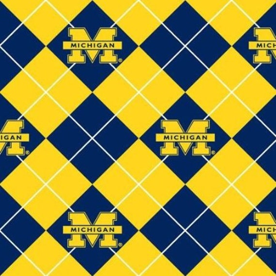 university of michigan argyle fleece fabric by 1 2 yard by elysiap. Black Bedroom Furniture Sets. Home Design Ideas