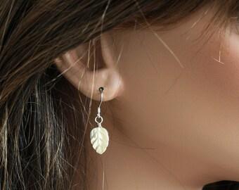Shell Leave Earrings, Simple Earrings, Carved Shell Earrings, Dangle Earrings, Sterling Silver Earrings