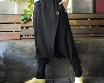 Women Men Pants - Drop Crotch Black Cotton Jersey Pants With 2 Side Pockets And Elastic Waist Band