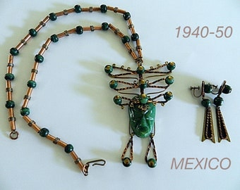 MEXICAN JEWEL, vintage Onix and copper necklace and screw on earrings