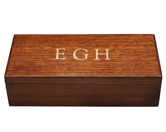 Monogram  Mens Jewelry Box Desk Box Valet, Walnut, Custom Item