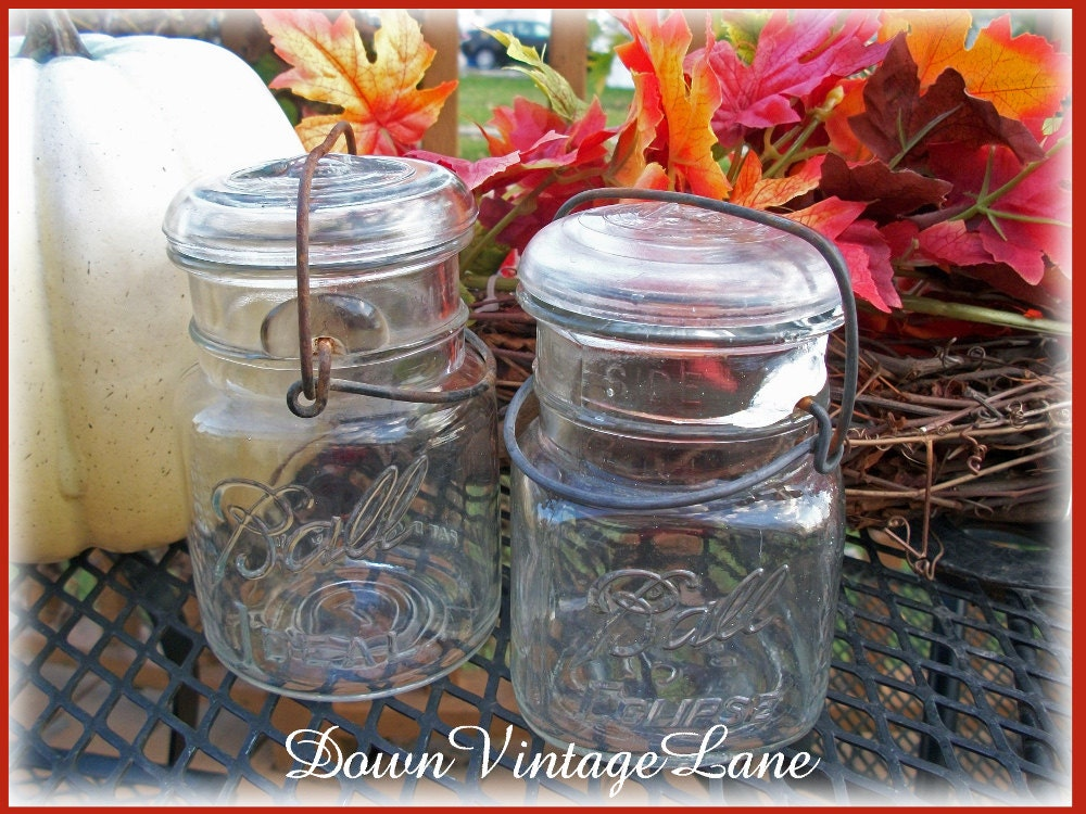 clear ball mason jars pint size with wire by downvintagelane. Black Bedroom Furniture Sets. Home Design Ideas