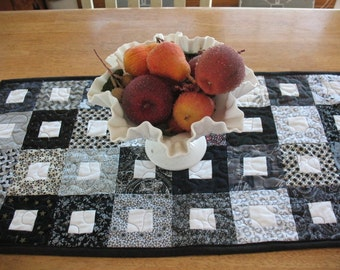 Quilted Black and White Block Table Runner
