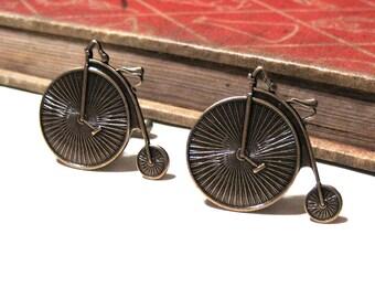 High Wheel Bicycle Cuff Links - Antiqued Brass Bike Cuff Links - Victorian - Steampunk - I heart Biking - Soldered - Penny Farthing