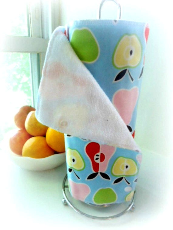Reusable Paper Towels Set of 12 Eco-Friendly Snapping Towels - Apples and Pears - READY TO SHIP