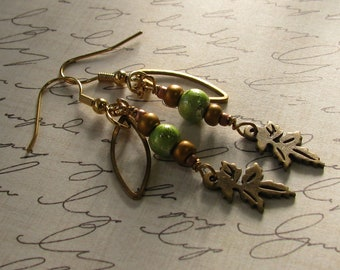 Beautiful Autumn Leaves earrings, vintage brass and green moss, with charm