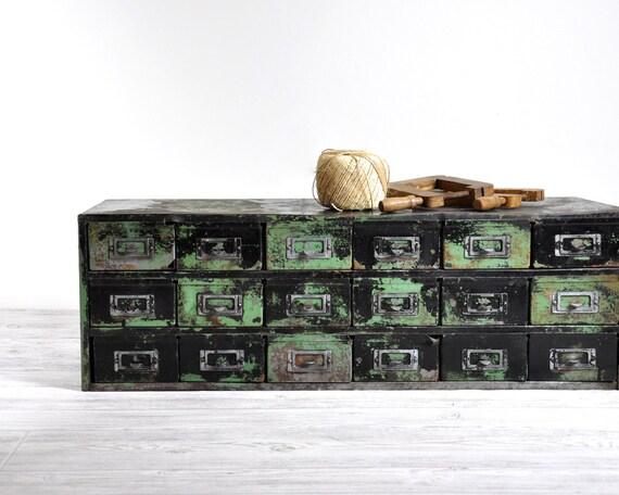 Vintage Industrial Metal Cabinet / Industrial Storage / Shop Cabinet Metal Chest