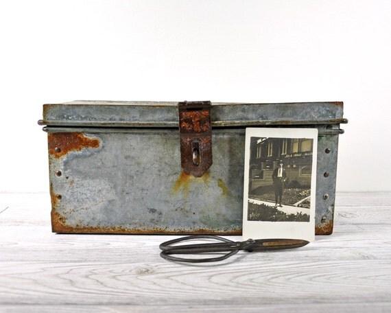 Vintage Galvanized Steel Tool Box / Metal Storage Box / Industrial Storage