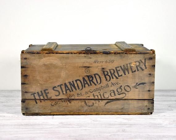 Vintage Industrial Lidded Wood Beer Crate / Industrial Storage