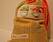 Re-Gift It Fabric Gift Bag Drawstring Pouch Gift Bag with Vintage Postal Stamps Very Green