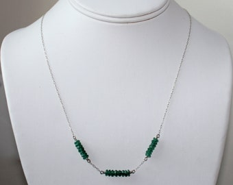 Deep Green Aventurine and Sterling Silver Necklace