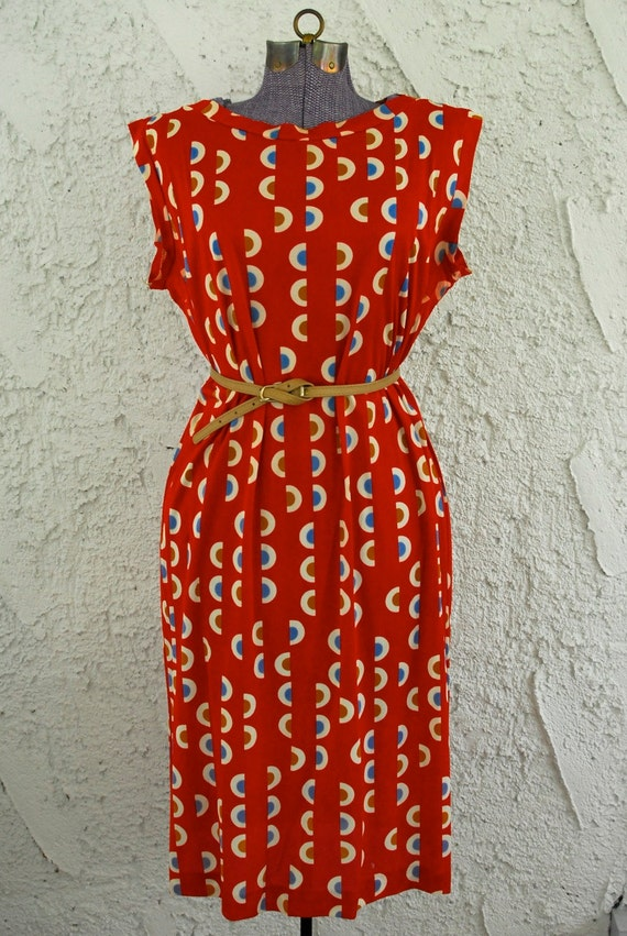 Vintage 1960s Red Bullseye Abstract Dress - Large - 18
