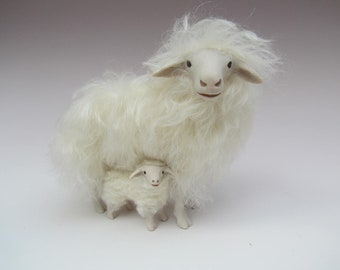 Porcelain and Mohair Italian Sarda Sheep Figure Above Lamb
