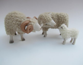 English Dorset Sheep Porcelain FIgures,  Family Showing Attention