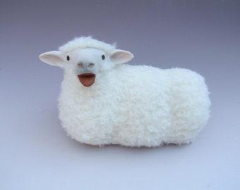 Irish Galway Sheep Figurine Lying and Baaing