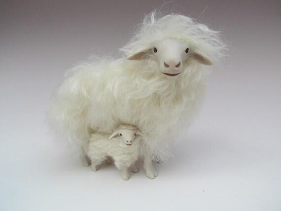Porcelain and Mohair Italian Sarda Sheep Figure Above Lamb