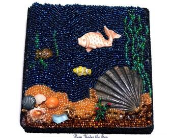 Deep Under the Sea- Bead embroidery-handmade bead art-mixed media art-sculptural bead art-bead collage-beach house decor-wall art-home decor