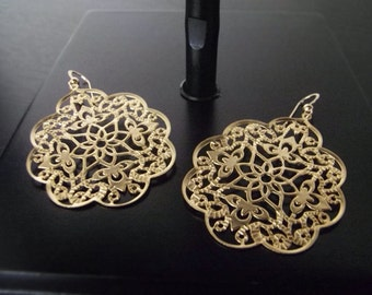 Gold Earrings, Golden Lotus Earrings, Ornate Earrings, Gold Floral, Gold Earrings, Trending Design, Lightweight