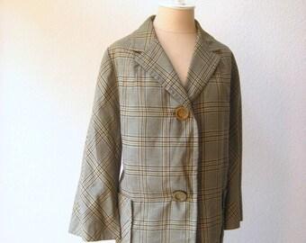 vintage 40's-50's designer moss green plaid wool coat.