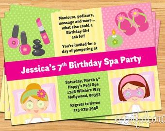 Spa Party Kids Birthday Invitation