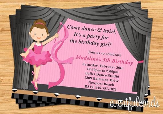 Ballerina Birthday Party Invitation - Great for Dance ...