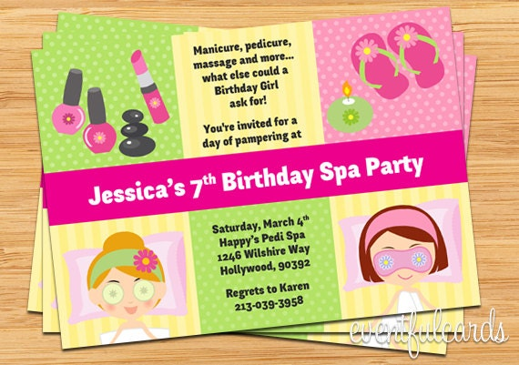 Spa party kids birthday invitation description invite friends to a spa party with this cute personalized kids spa party birthday invitation filmwisefo Gallery