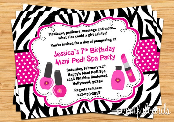 Mani Pedi Spa Party Birthday Invitation Pink Black Zebra
