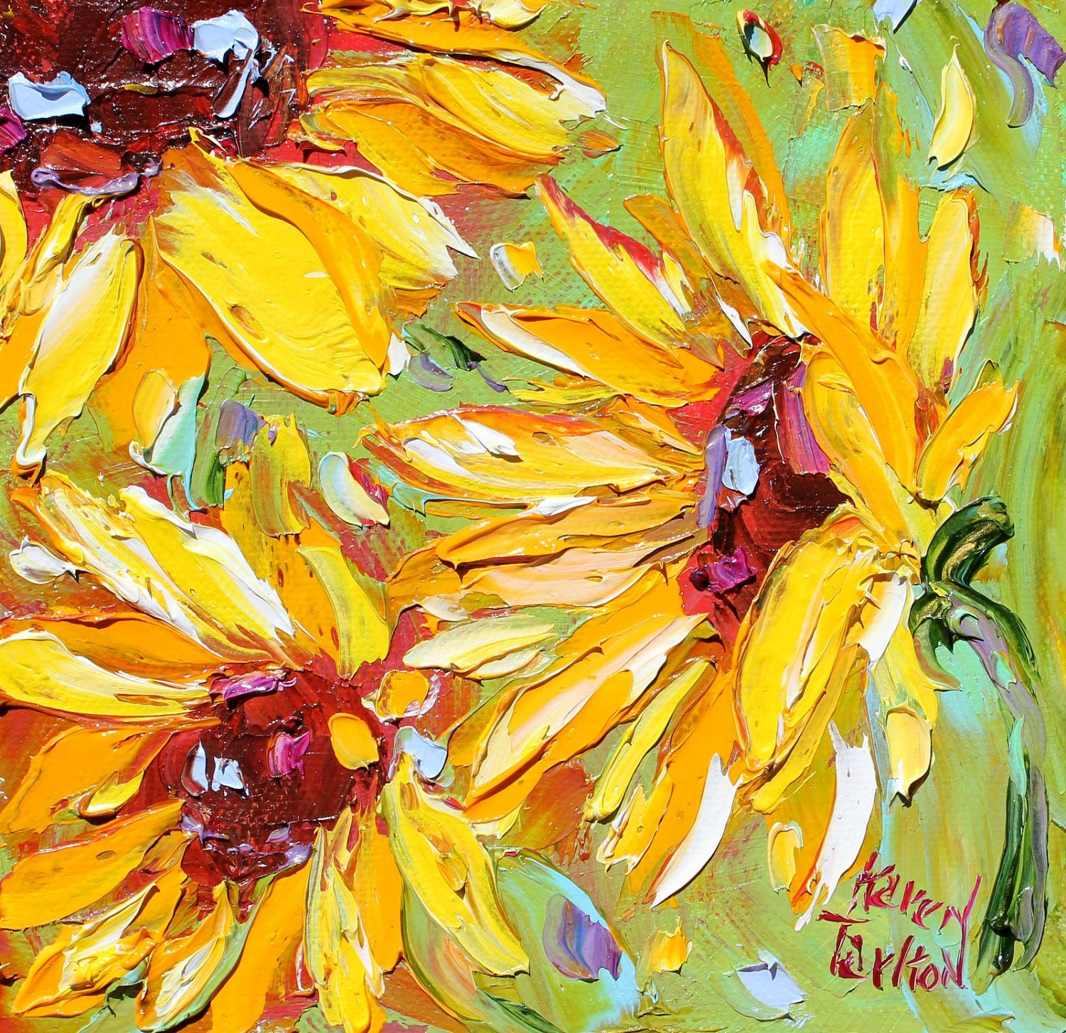 Original sunflowers oil painting on canvas impasto palette for What is canvas painting