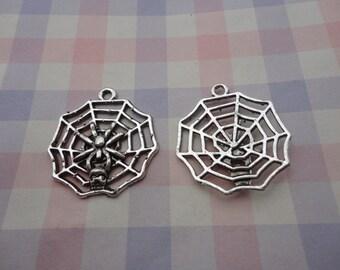 10pcs antique silver spider net/cobweb/ spider web/ tela aranea findings 29mmx25mm