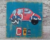 License Plate Art - Teal Red Navy Funky Transportation VW Bug Car Adventure Boys Nursery Room - Recycled Art Company - Artwork