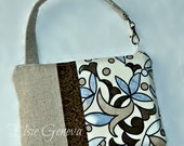 Natural Japanese Linen Brown and Blue Mosiac Camera Case Pouch Bag with Wristlet iPhone 4 5 6 Plus Samsung Note