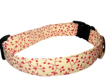 Red Vine Dog Collar, 1 inch wide, available in 4 sizes, flowers, small, medium, large, XL, XXL, red, white, yellow