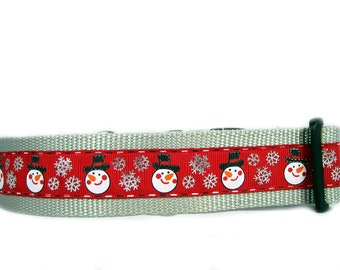 Silver Flake Snowman Dog Collar, 1.5 inch wide, buckle or martingale, christmas, red, holiday, festive, snow, small, medium, large, XL