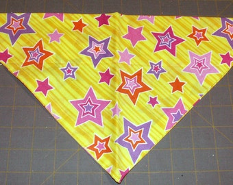 Dog Bandana, Star, Retro, Yellow, Neckerchief, Scarf