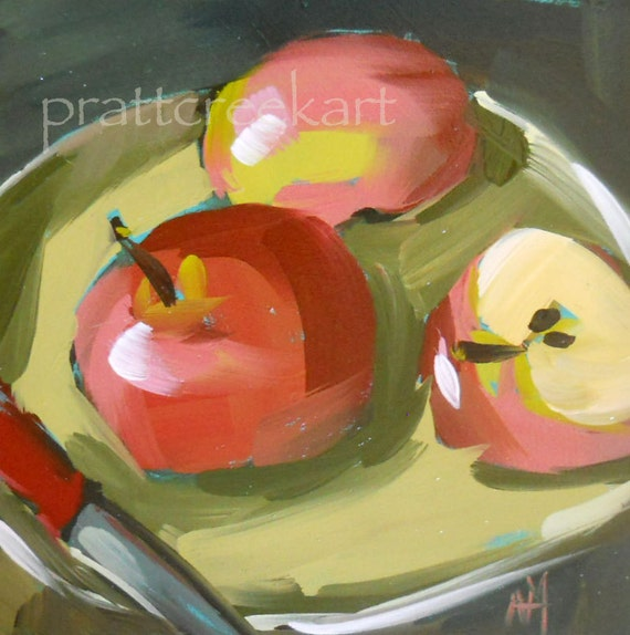 apple plate original painting by moulton 6 x 6 inches