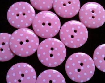 30 pcs Cute Retro Polka dot Buttons 15 mm purple