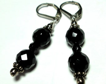 Black Onyx Earrings Faceted Black Onyx Earrings in Sterling
