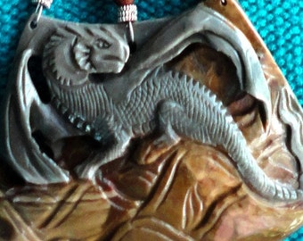 Game of Thrones Dragon Necklace Dragon Statement Amulet Carved Jasper Dragon with Sterling