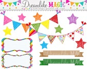 Back to School Buntings, Frames, Stars and Ribbon Banners - Clipart for Personal or Commercial Use