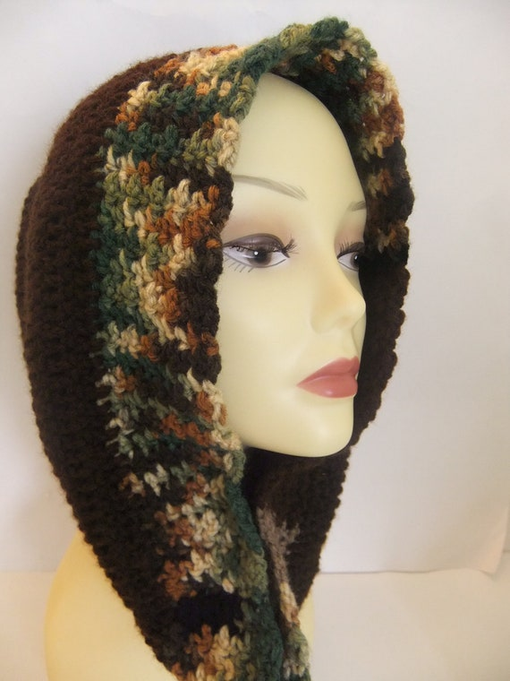Chocolate Brown, Multi Color, Handmade Crochet Cowl, Scarf, Neck Warmer, Accessory, Fashionable, Gift, Warm, Women, Youth, Autumn, Fall