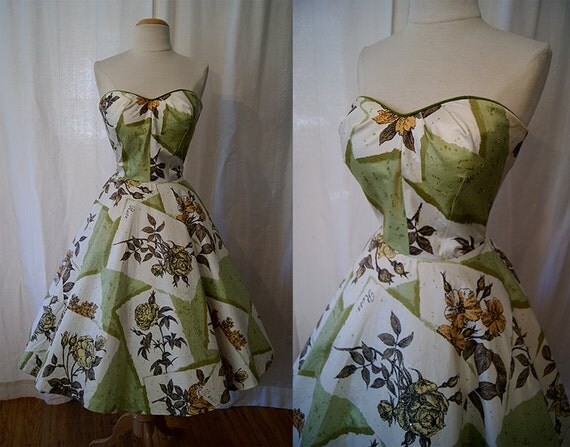 Dazzling 1950's Alex Colman green polished cotton rose print strapless new look party dress with rhinestones pin up girl vlv - size Small