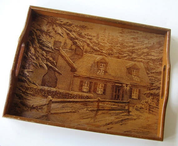 Vintage Wood Tray, Country Cottage Wooden Tray, Wood Serving Tray