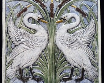 Decorative ceramic relief carved swan tile