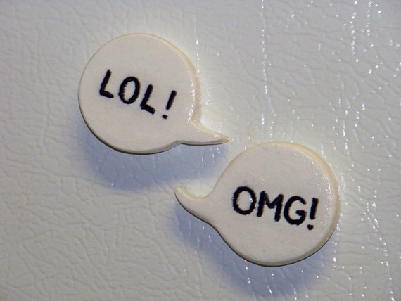 LOL OMG and WTF word bubbles kitchen magnets