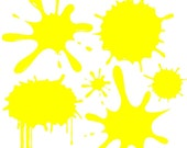 "Yellow Paint Splats Wall Decal Removable Splat Wall Sticker Graphic 13"" x 13"" Sheet"