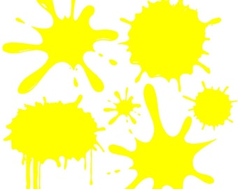 "Yellow Paint Splats Wall Decal Removable Splat Wall Sticker Graphic 13"" x 13"" Sheet"