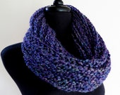 Deep Space Purple Violet Dark Lavender Color Knitted Cowl Infinity Scarf Head Cover Scoodie Wrap