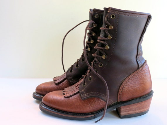 Womens Two Tone Cowboy boot combat boots laceup boots vintage ropers size 7 or 7 1/2 rockabilly bohemian 90s grunge