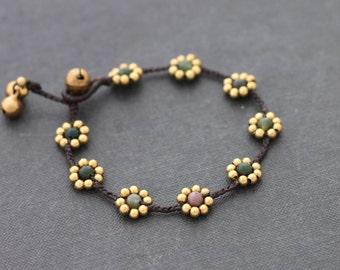 Fancy Jasper Daisy Brass Braided Bracelet