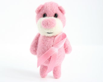 Breast cancer awareness pocket bear